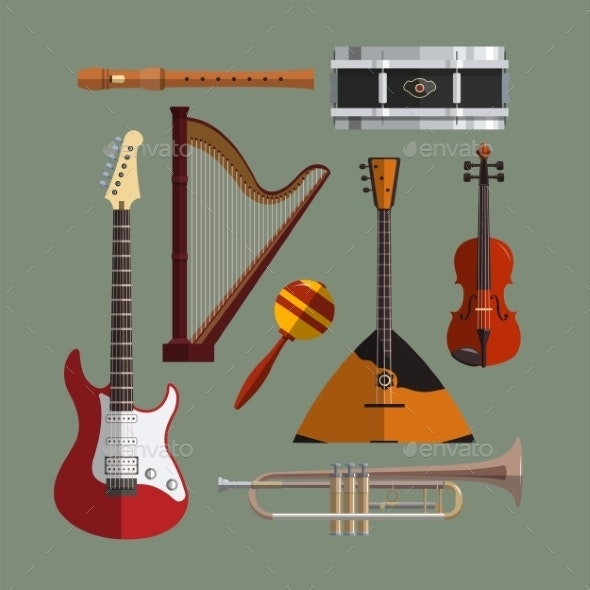 Musical Instruments Collection. Music Icon Vector - Man-made Objects Objects