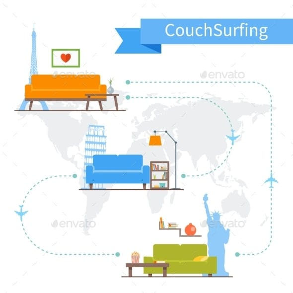 Couch Surfing and Sharing Economy Concept