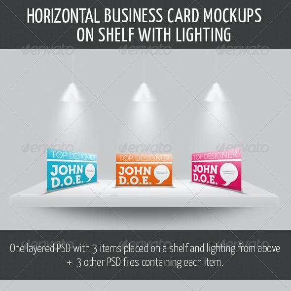 Horizontal Business Card Mockup on Shelf