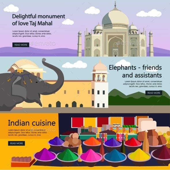 Travel to India Banner Set Indian Culture