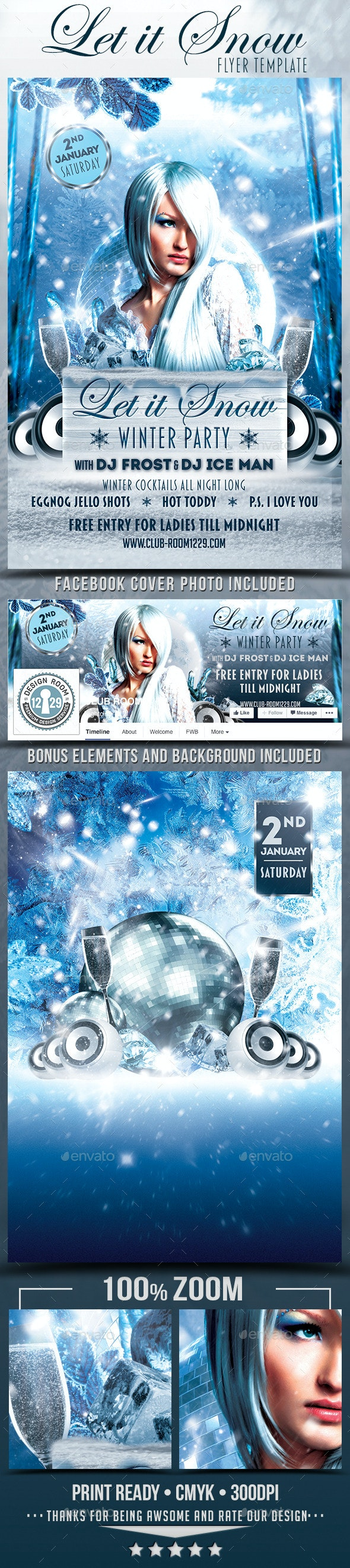 Let It Snow Winter Party Flyer Template - Clubs & Parties Events