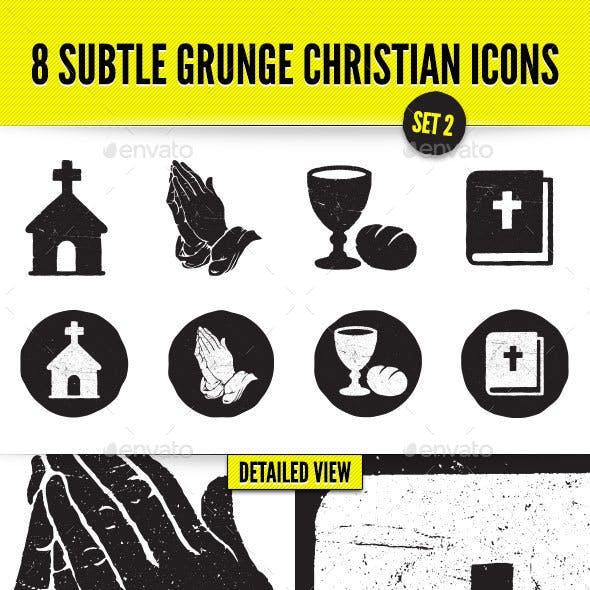 8 Subtle Grunge Christian Icons - Set 2