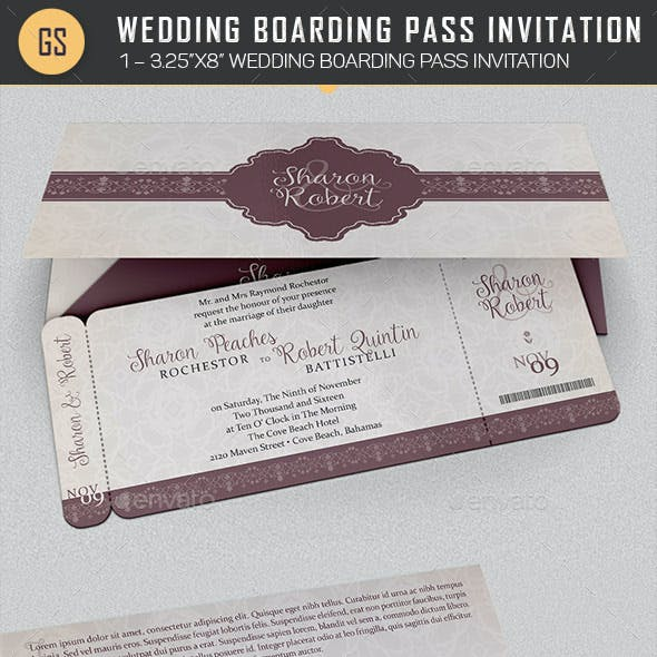 Wedding Boarding Pass Invitation Template