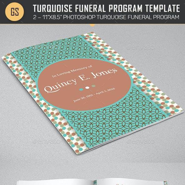 Turquoise Bi-fold Funeral Program Template