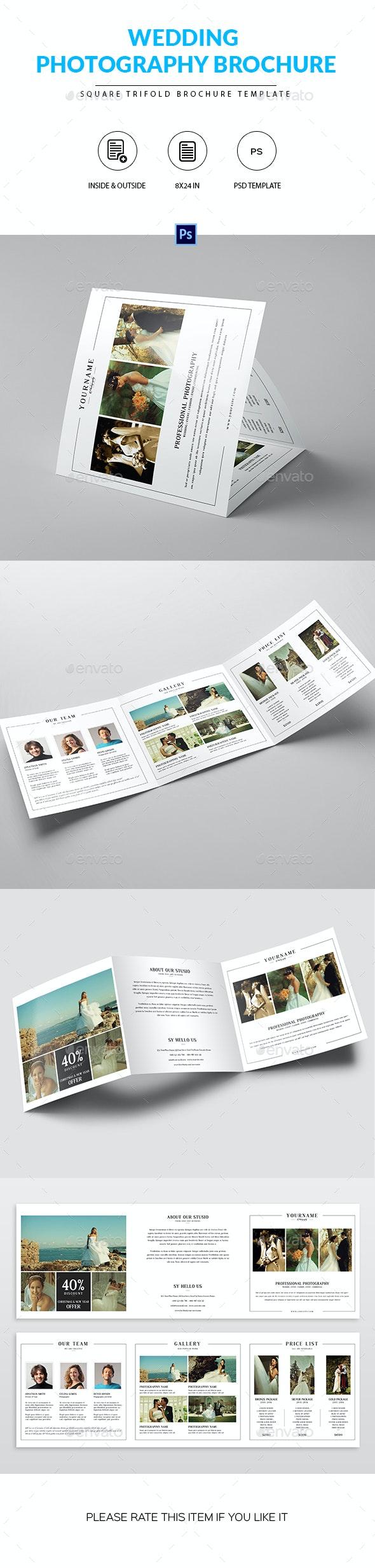 Square Trifold Brochure for Wedding Photographer - Portfolio Brochures