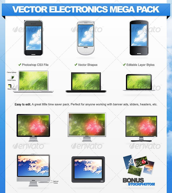 Vector Electronics Mega Pack - 11 Gadgets - Multiple Displays