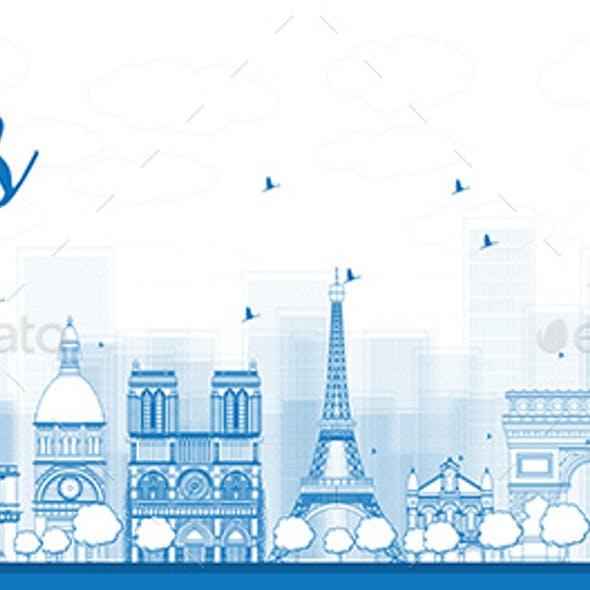 Outline Paris Skyline with Blue Landmarks.