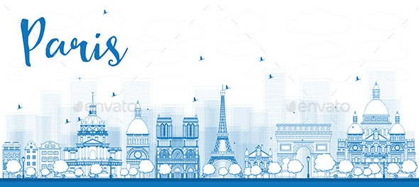 Outline Paris Skyline with Blue Landmarks. - Buildings Objects