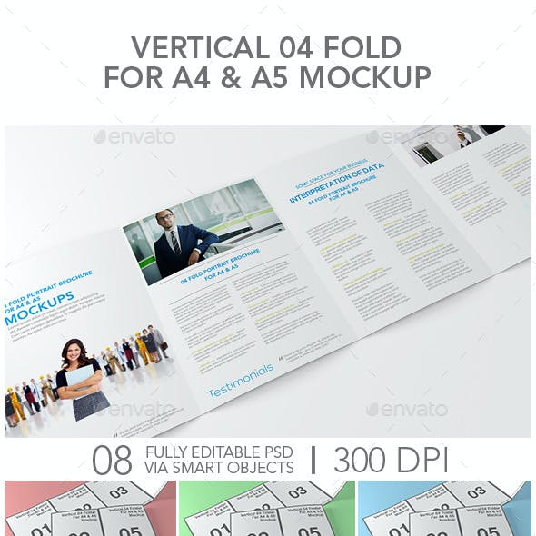 Vertical 04 Fold For A4 & A5 Mockup