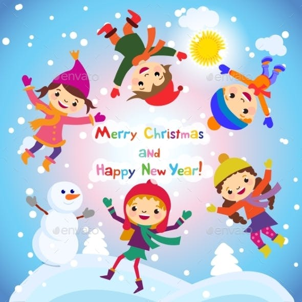 Shiny Vector Christmas Background With Funny