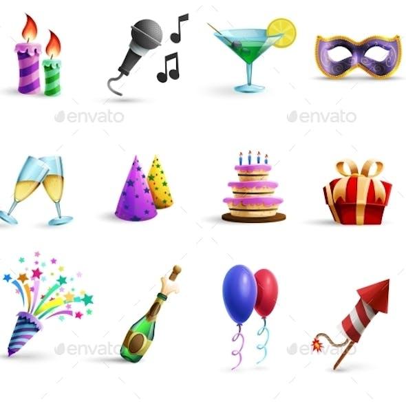 Celebration Colorful Cartoon Style  Icons Set