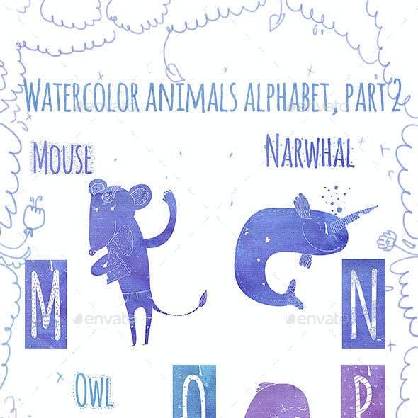 Animal Watercolor Alphabet (M-Z)