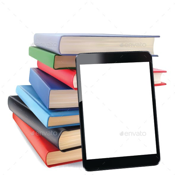 Stack of Books and Tablet