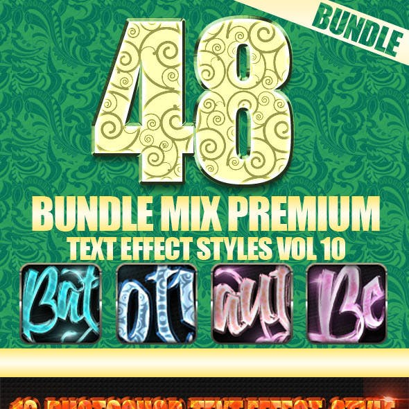 48 Bundle Mix Premium Text Effect Styles Vol 10
