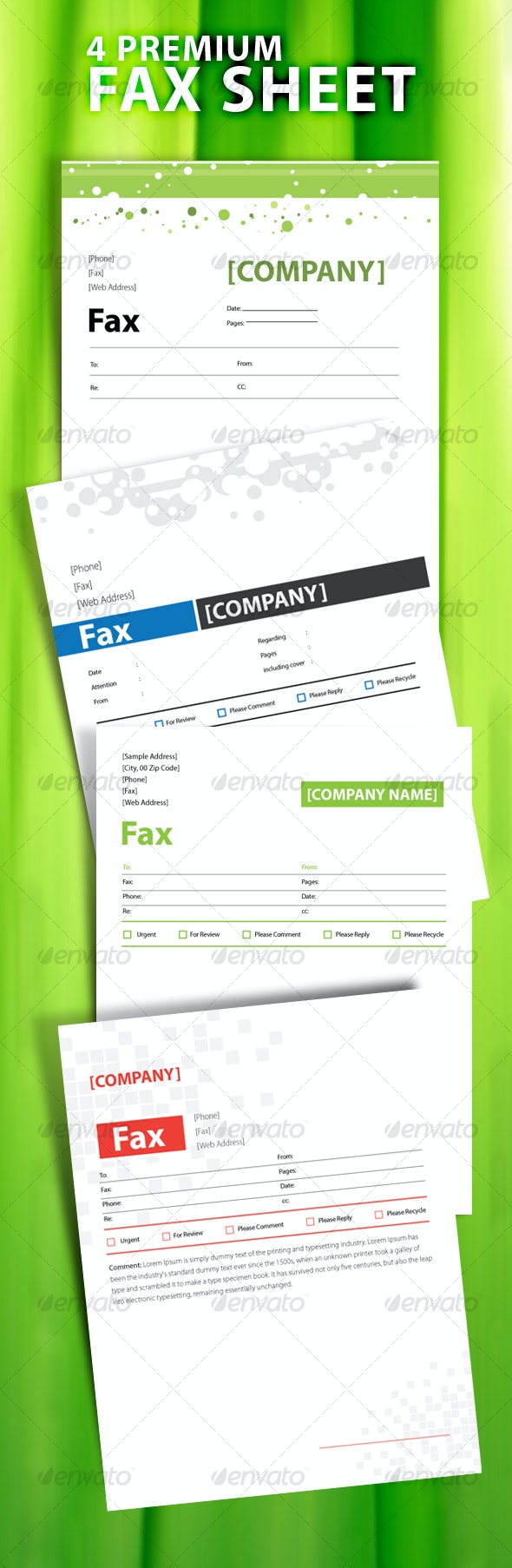 4 PREMIUM MODERN AND CLEAN FAX SHEET  - Miscellaneous Print Templates