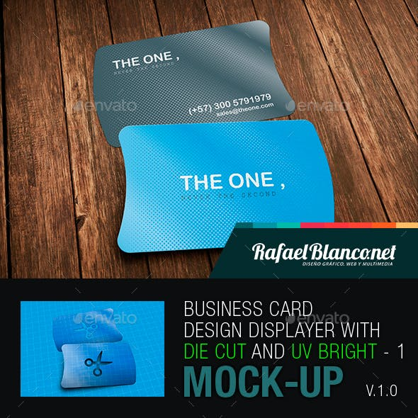Horizontal Business Card Design Displayer with Die Cut and UV Bright - 1