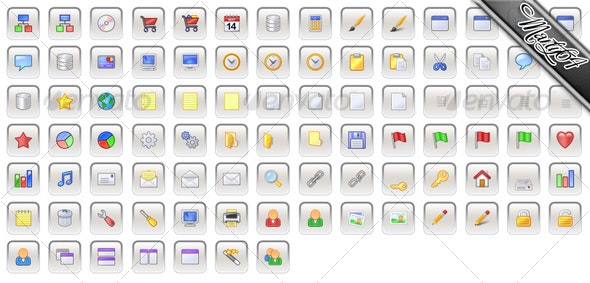 91 Gray / Grey Square Icons with Colour Inlay - Web Icons