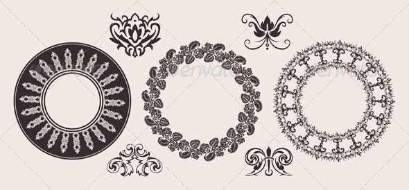 Set Of One Color Circle Lace Border Ornaments. - Retro Technology