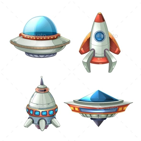 Spaceship and UFO Set in Cartoon Style