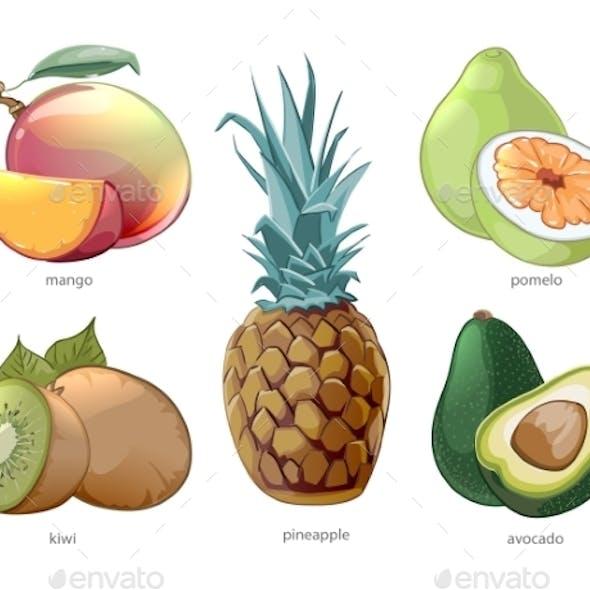 Cartoon Exotic Tropic Fruits Icons Set