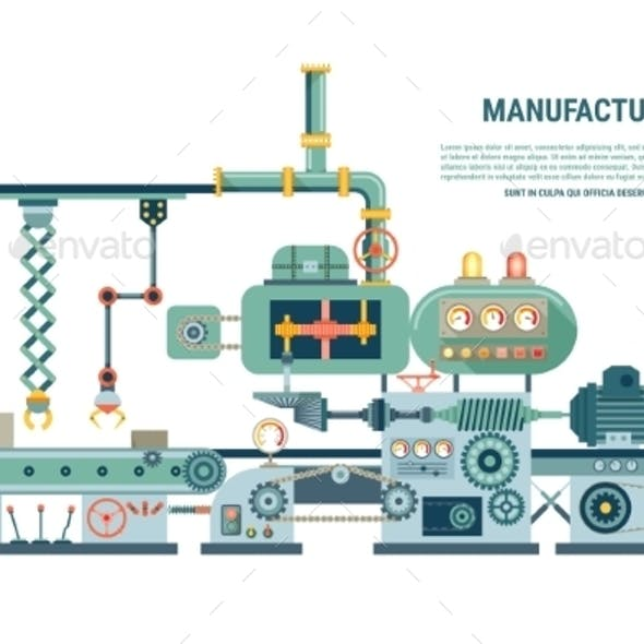 Industrial Abstract Machine in Flat Style
