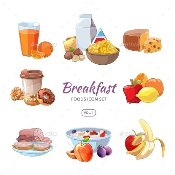 Breakfast Food Icons in Cartoon Style