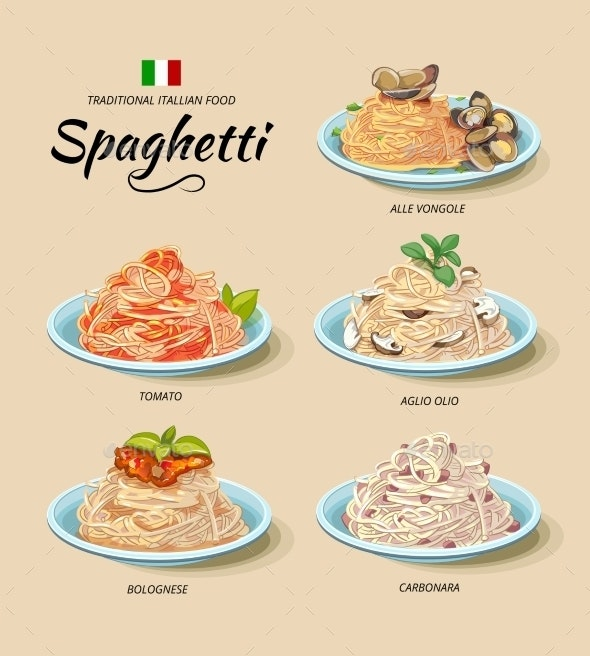 Spaghetti or Pasta Dishes Set in Cartoon - Food Objects