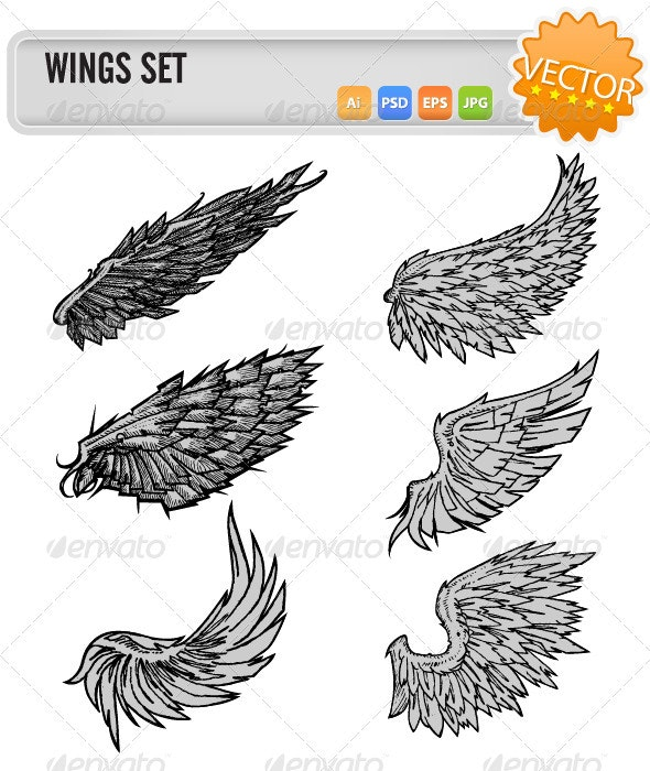 Vector Wings Set - Animals Characters
