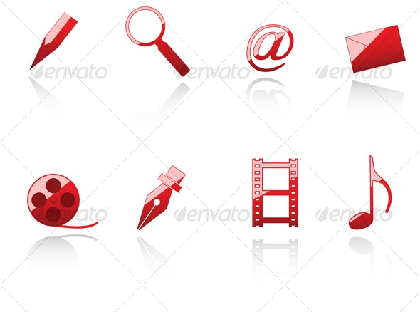 Set of internet and media symbols - Web Technology