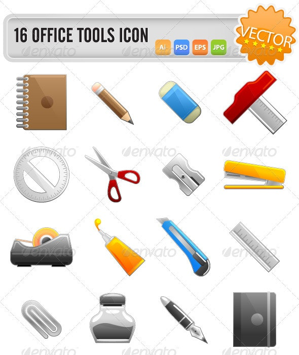 Vector Office Tools Set - Man-made Objects Objects