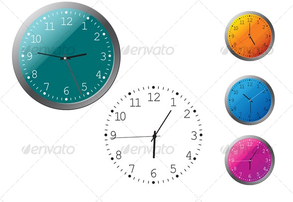 Office clocks in different colors - Technology Conceptual
