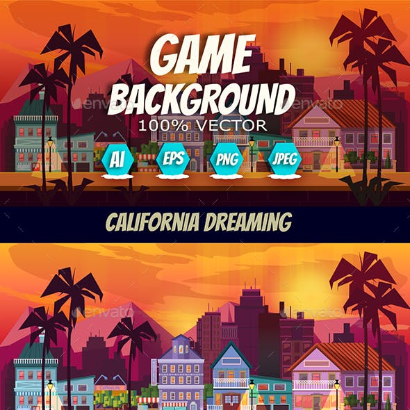 California Dreaming Game Background Vector Panorama