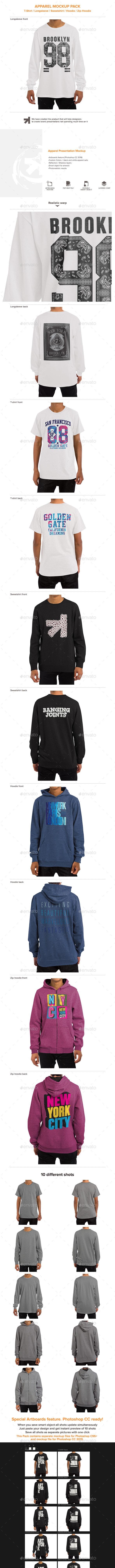 T-Shirt Longsleeve Sweatshirt Hoodie Mockup - Miscellaneous Apparel
