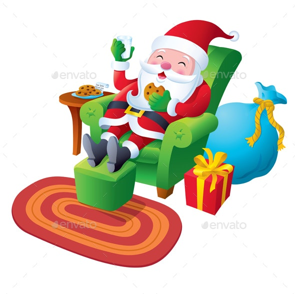 Santa Relaxing With Cookies And Milk