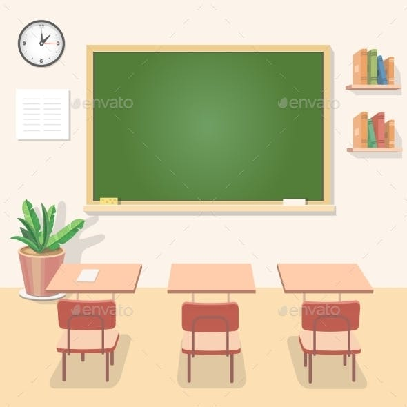 School Classroom with Chalkboard and Desks