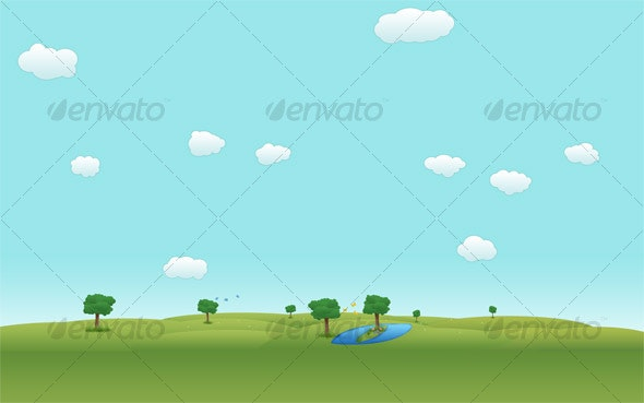 Drawn Landscape Background - Backgrounds Graphics