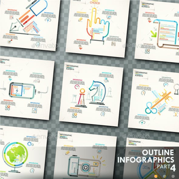Outline Infographics. Part 4 (+25 Icons)