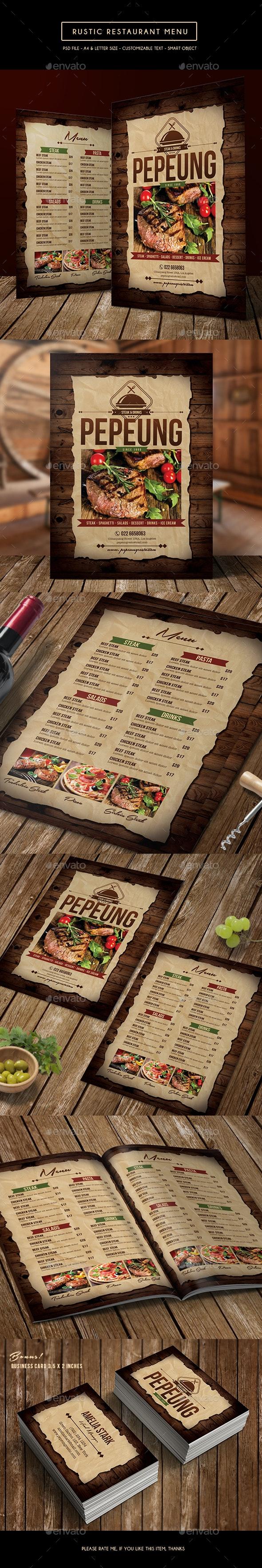 Rustic Restaurant Menu - Food Menus Print Templates