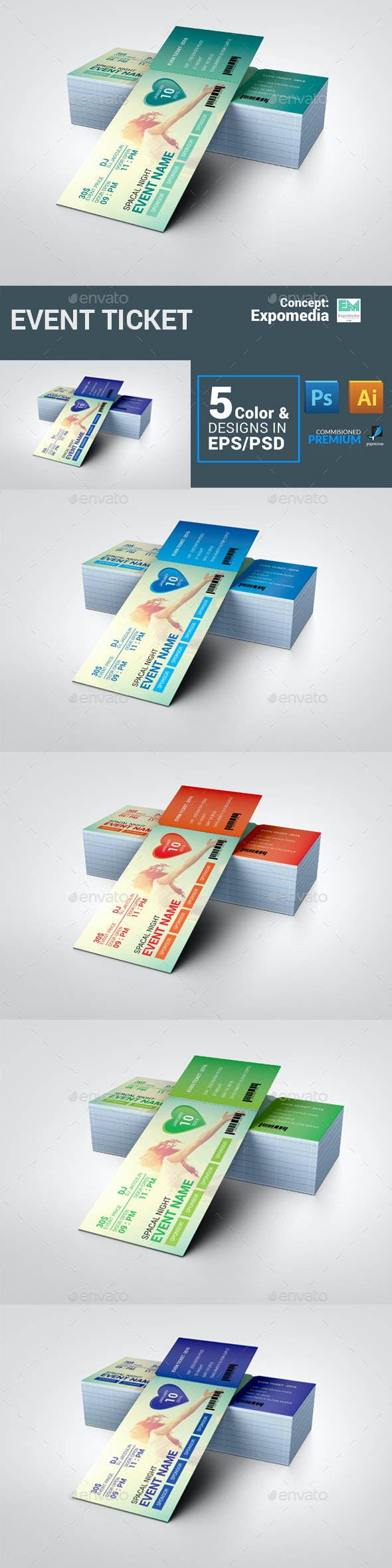 Ticket - Cards & Invites Print Templates