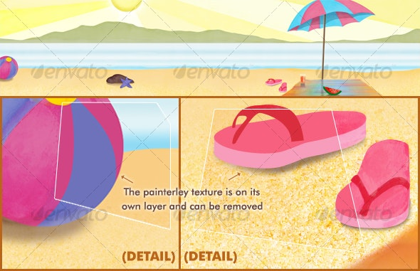 Summery Beach Scene - Scenes Illustrations