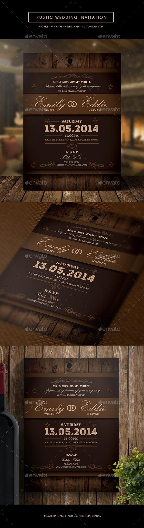Rustic Wedding Invitation - Weddings Cards & Invites