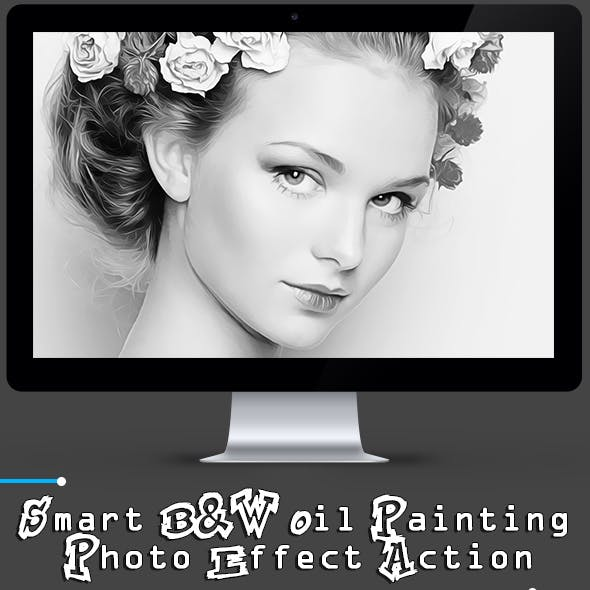 Smart B&W Oil Painting Photo Effect Action