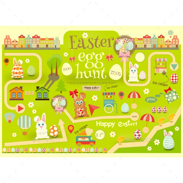 Easter Egg Hunt by elfivetrov | GraphicRiver