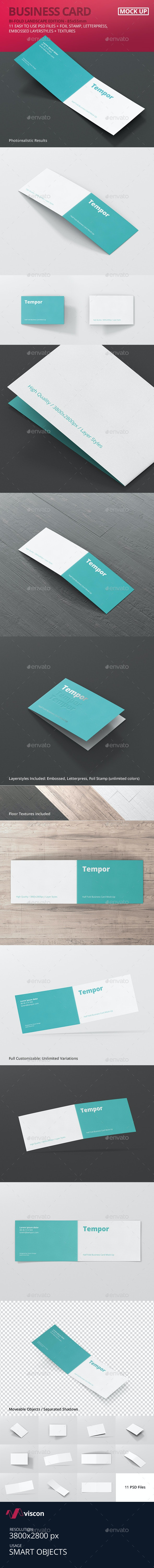 Folded Business Card Mockup - Business Cards Print
