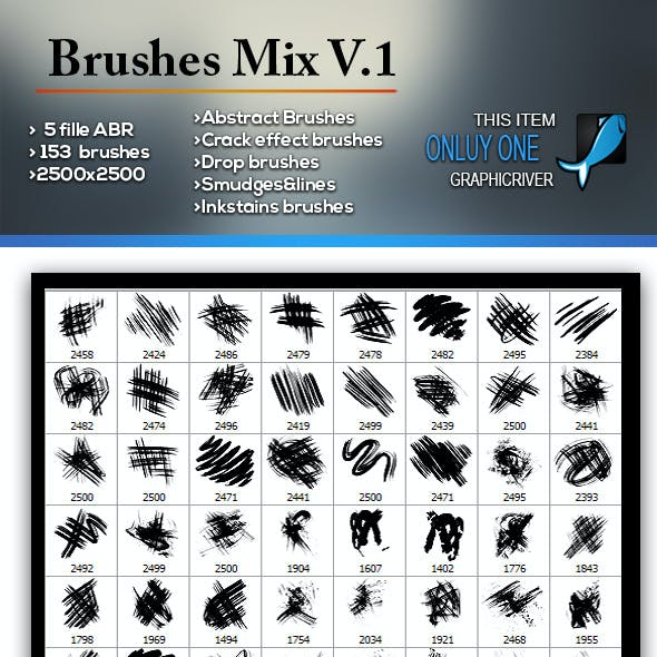 153 Brushes Mix Abstract Crack Effect Drop Smudges