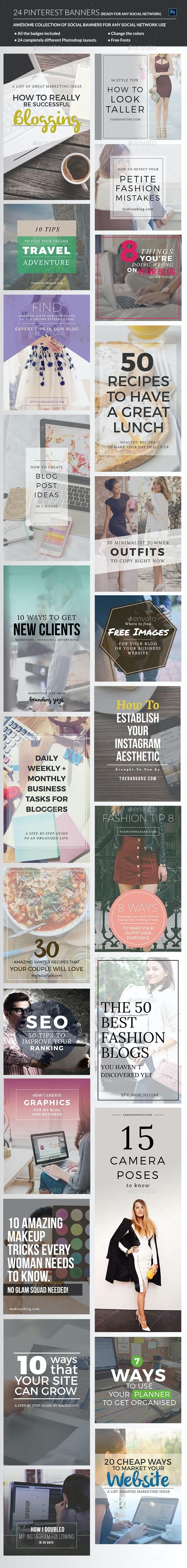 Pinterest & Instagram Banners - Social Media Web Elements