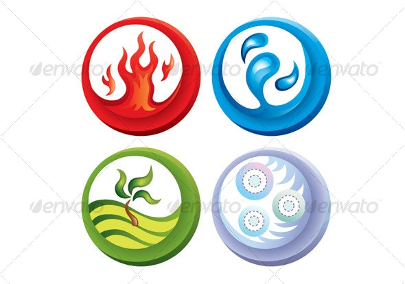 Fire, water, soil and air - Decorative Symbols Decorative