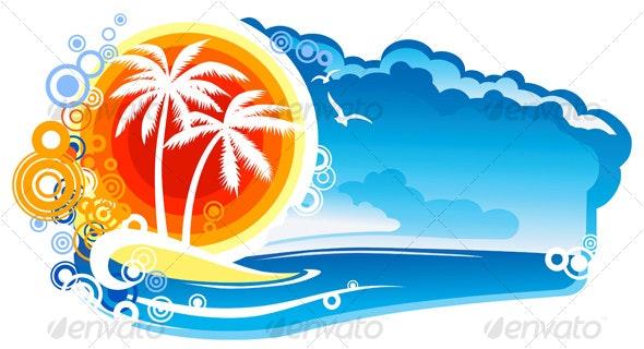 Tropical Coastline Emblem - Travel Conceptual