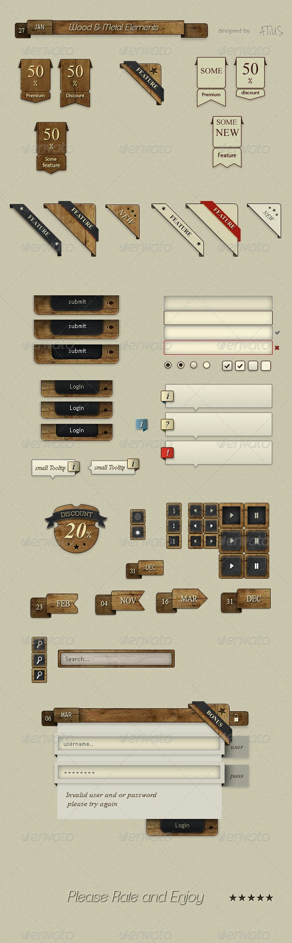 Wood & Metal UI - Buttons Web Elements