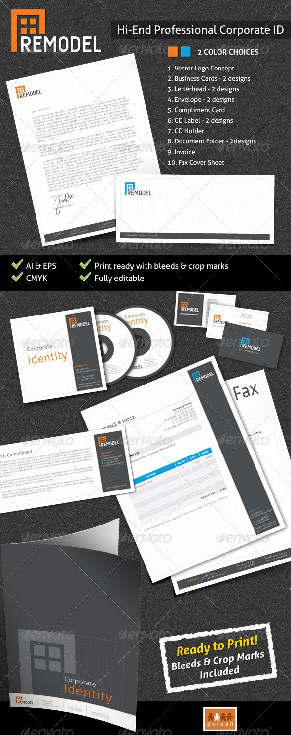 Professional Corporate ID - Remodel - Stationery Print Templates